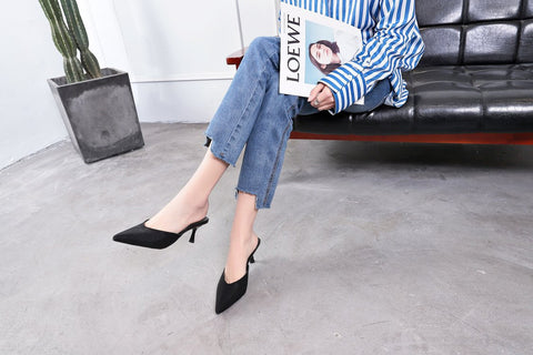 Graceful Sexy Women Female Fashion Casual Pointed Toe Half Slippers Sandals Heel