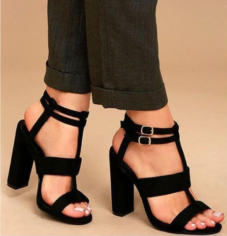Occidental Buckle Model Fashion Women Female Lady Casual Open Toe Super High Chunky Heels