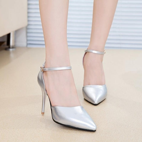 New pointed white high heels with professional shoes