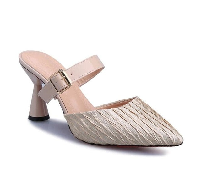 Elegant Sexy  Fashion Casual Buckle Strapped Pointed Toe Half Slippers Sandals High-Heeled