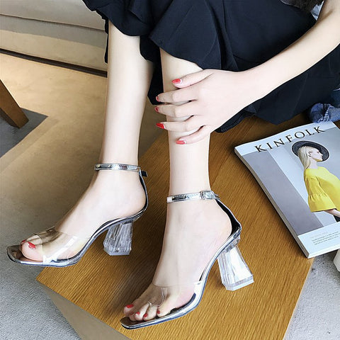 Fashion Casual Peep Toe Crystal High Chunky Heels