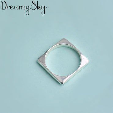 Sterling Silver Geometric Square Rings