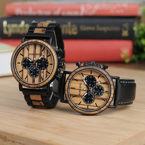 Wood and Stainless Steel Watches Mens Chronograph Wristwatches