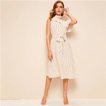 Apricot Asymmetrical Neck Ruffle Heart Print Belted Elegant Midi Dress