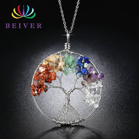 Hand Make Rainbow Life Tree Necklace