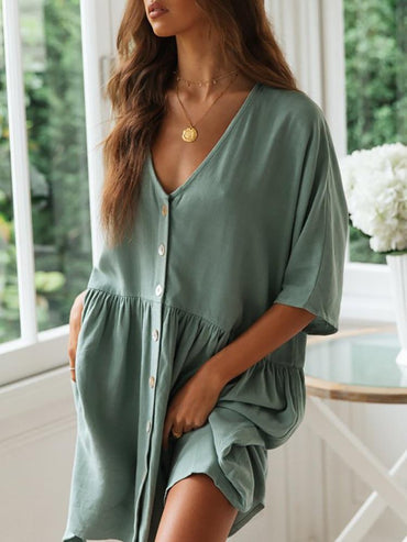 Casual Loose Button Shirt Solid Linen Half Sleeve Pockets Sexy V-Neck Mini Dresses