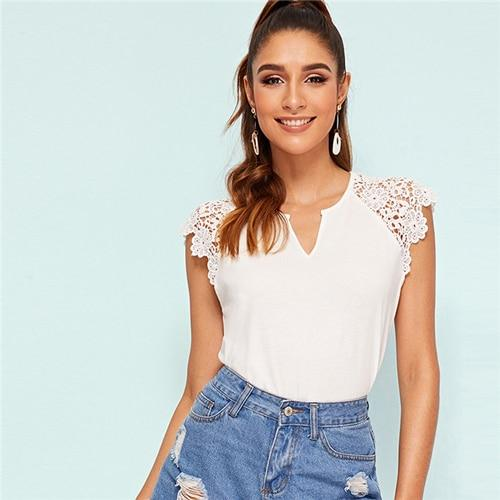 V Cut Guipure Lace Trim White T Shirt Women Stretchy Slim Fit Solid Fashion Tshirt Elegant Raglan Sleeve Summer Ladies Tops