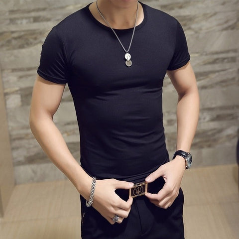 O-neck T-shirt Summer Top Slim Fit Solid Color Men's Bottoming Tee Shirts