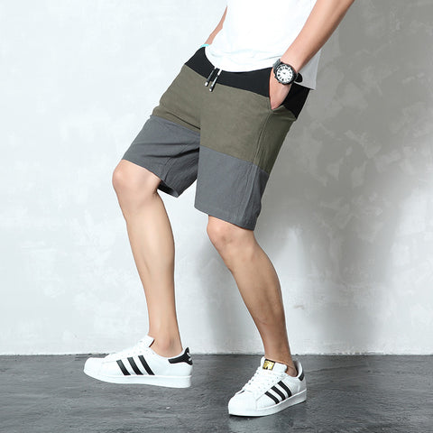Elastic Waist Beach Cotton Linen Bermuda Knee Length Fashion Breathable Shorts