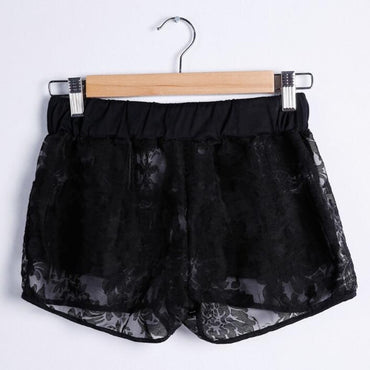 Elastic Middle Waist Hollow Out White Black Slim Stretch Casual Short