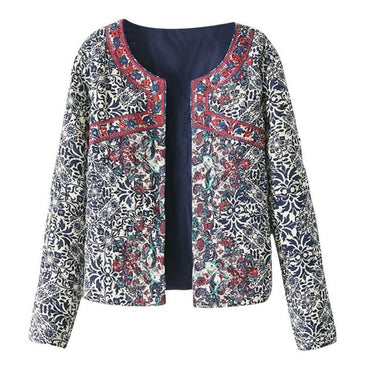 Retro Print Blue White Round Neck Full Sleeve Jackets & Coats