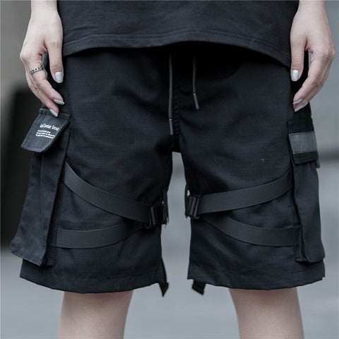 Cotton Streetwear Black Casual Shorts