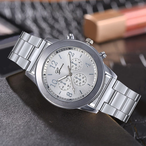 Rose Gold & Silver Watch Luxury Fashion Women Watch