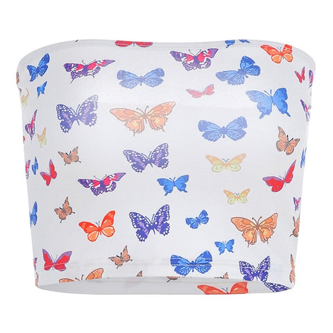 Butterfly Pattern Print Cotton Colorful Slash Neck Tank Strapless Crop Top