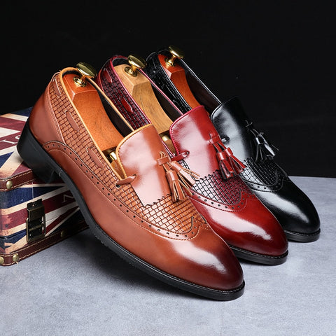 Italian Dress Shoes Loafers Casual Loafer  Wedding Party Shoes Male Designer Leather Shoes