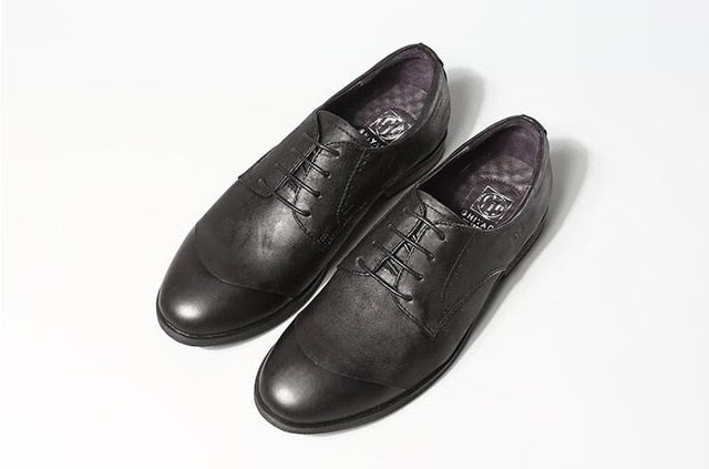 4bd119d6eab92 Lace-Up Men's Oxford Genuine Leather Men Dress Shoes Vintage Handmade  Patchwork Toes Male Casual Shoes