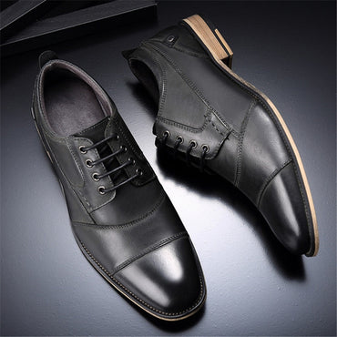 Brand Italian Mens Formal Shoes Genuine Leather Pointed Toe Comfortable High Quality Oxford Dress Wedding Shoes