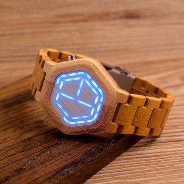 Wood  Watches Digital Watch Night Vision Calendar Quartz Wristwatch