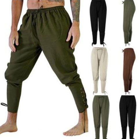 Adult Man Medieval Viking Pirate Cosplay Costume Lace-Up Bandage Pants