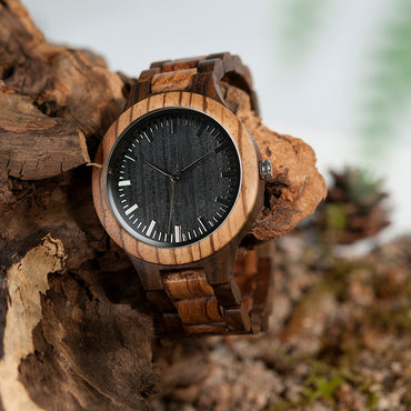 Wood Watch Men's Walnut Ebony Wooden Strap Quartz Wristwatch