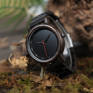 Wood Watch New Black Wooden Strap Quartz Watches