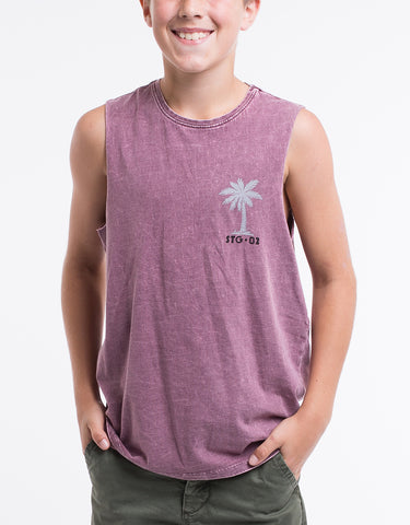 ST GOLIATH BOYS Spinning Muscle Tee -Burgundy - Tween 8-14