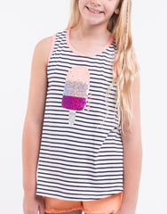 EVE'S SISTER Icy Tank - Stripes - Tween Girl 8-16
