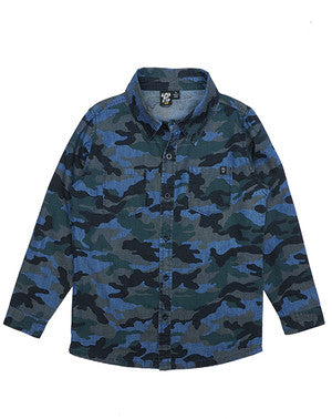 ALPHABET SOUP Nomad Camo Boys Shirt - Blue Charcoal Camouflage