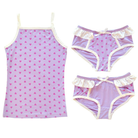 BLUEBELLE Maude Girl's 3 Piece Set / Lilac Heart/ LAST ONE!