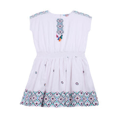 TAHLIA BY MINIHAHA Santa Monica Tassel Front Girls Dress - White