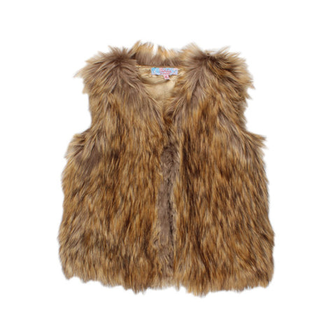 TAHLIA BY MINIHAHA Faux Fur Vest - Fox - Girl 6-14