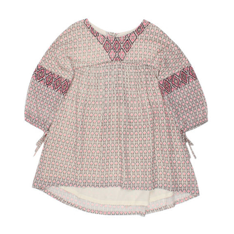 TAHLIA Woodstock Embroidered Yoke Dress - Wood Block - Girl 6-14