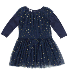 HOOTKID Falling Heart Girls Dress - Navy