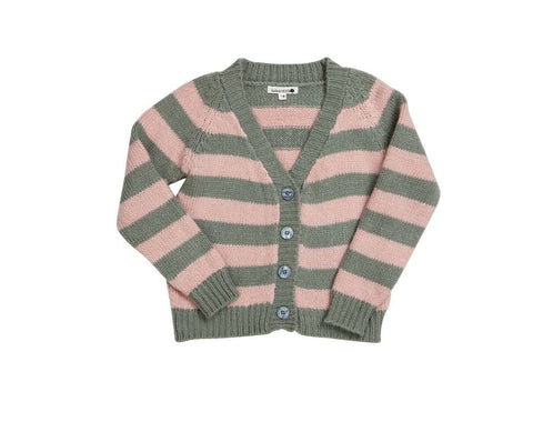 HIDE & SEEK Warm Me Girls Cardi - Pink Grey Stripe