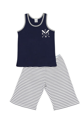 HUCKLEBERRY LANE Navy Singlet Crew Pj Set