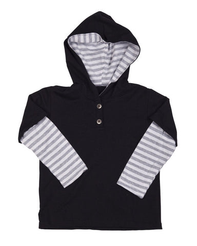 HIDE & SEEK Boys Hooded Stripe Top - Grey / Black