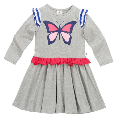 HOOTKID Butterfly Girls Dress - Grey marle
