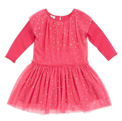 HOOTKID Falling Heart Girls Dress - Hot Pink Tulle