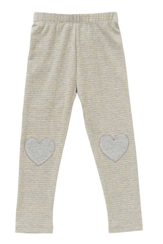 HOOTKID Valentine Girls Legging - Grey Marle Lurex