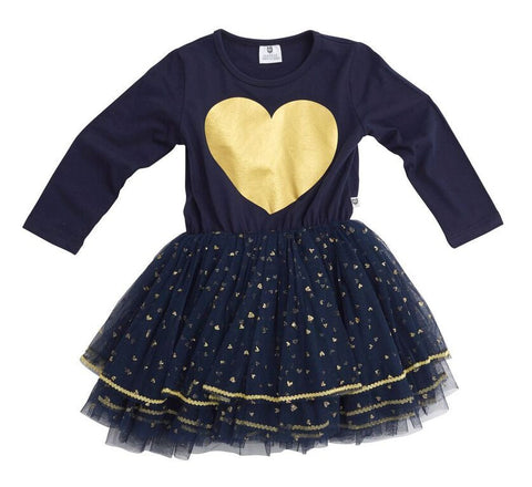 HOOTKID Valentine Girls Tutu - Navy And Gold