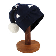 TAHLIA Seattle Knit Beanie With Pom Pom - Navy and White - Tween Girl 8-14