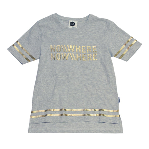 SUDO Out Of Nowhere Short Sleeve Girl's T-Shirt / Gold On Grey