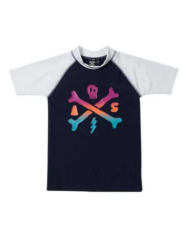 ALPHABET SOUP Boys Crossbones Rashie - Navy