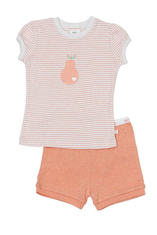 HUCKLEBERRY LANE Apricot Stripe Pear Pj Set