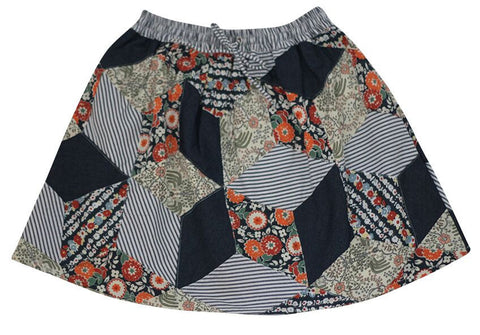 FABRIK Brick Lane Girls Skirt - Patchwork Combo