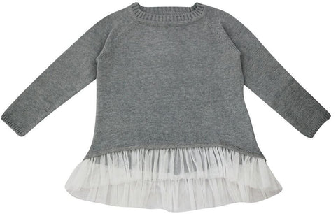 FABRIK Ruffle Knit Girls Sweater - Grey Marle