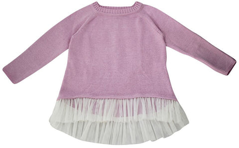 FABRIK Ruffle Knit Girls Sweater - Petal / Milk