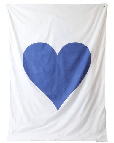 HIDE & SEEK Heart Quilt Cover / Dark Blue