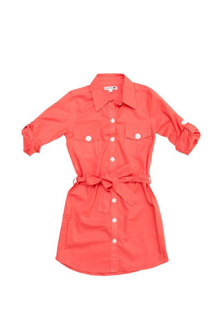 HIDE & SEEK Shirt Girl's Dress / Coral