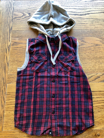 ST GOLIATH Bine's Sleeveless Shirt - Red & Navy check - Boys 8-14